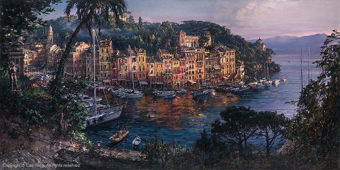 Cao Yong Morning In Portofino Giclee On Canvas The Venice Series