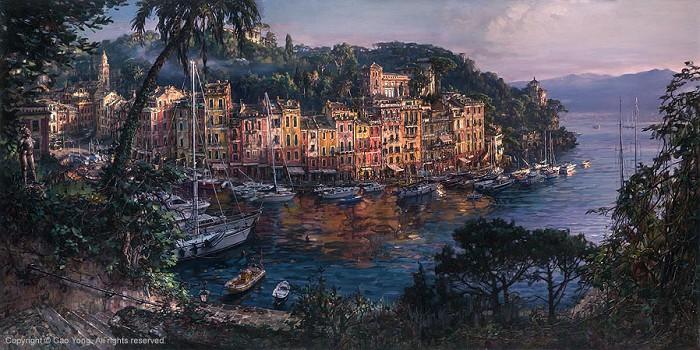 Cao YongMorning In Portofino Artist ProofGiclee On Canvas Artist Proof The Venice Series