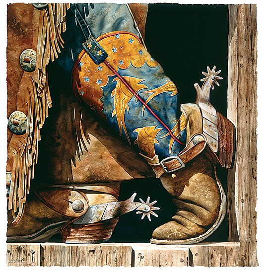 Nelson Boren Cowboy Fishin Boots Limited Edition Print