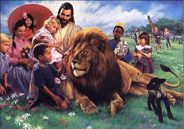 Nathan Greene The Lion And The Lamb Canvas Giclee