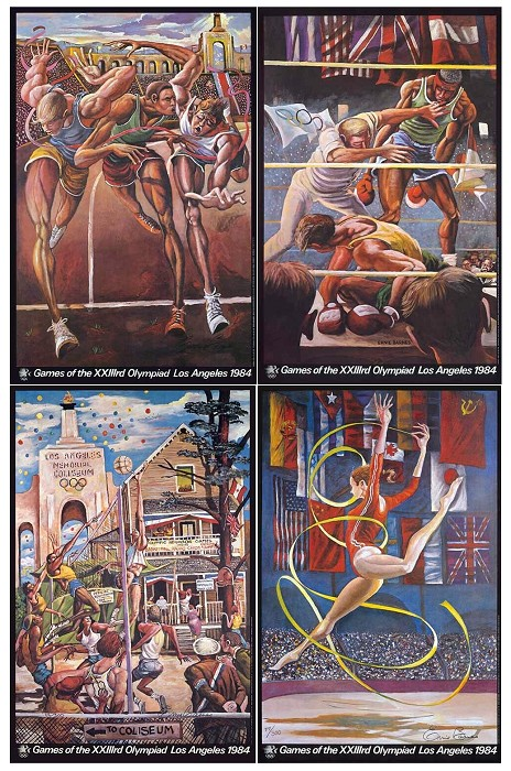 Ernie Barnes Ernie Barnes 1984 Limited Edition Olympic Series Matched Numbered Set Hand Signed in Pencil Lithograph