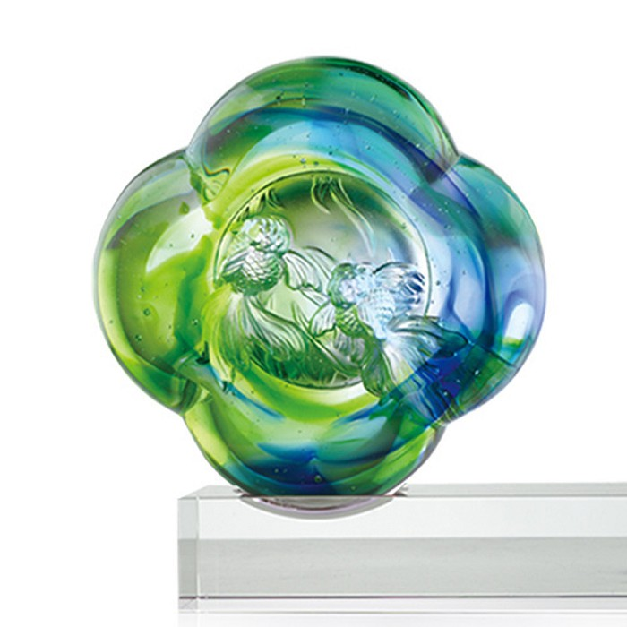 Liuli Crystal Crystal Fish Figurine (Love Goes in Pairs) - Happiness in Pairs