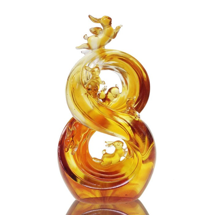 Liuli Crystal Zodiac (Rabbit) - Lucky No. 8 (Ascending Road of Splendor)