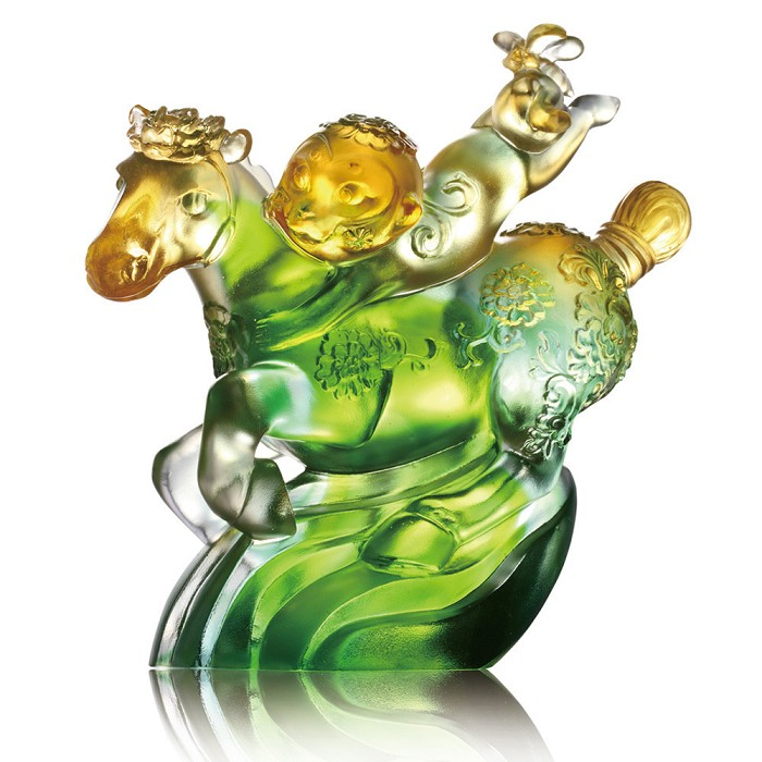 Liuli Crystal Zodiac Horse and Monkey, Prosperity - Splendor on Horseback