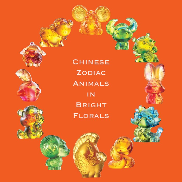 Liuli Crystal Chinese Zodiac Animals in Bright Florals (Set of 12)
