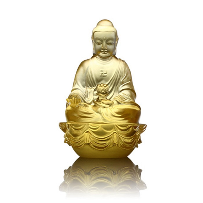 Liuli Crystal Amitabha Buddha - Buddha Figurine (Accompanied by Peace and Joy)