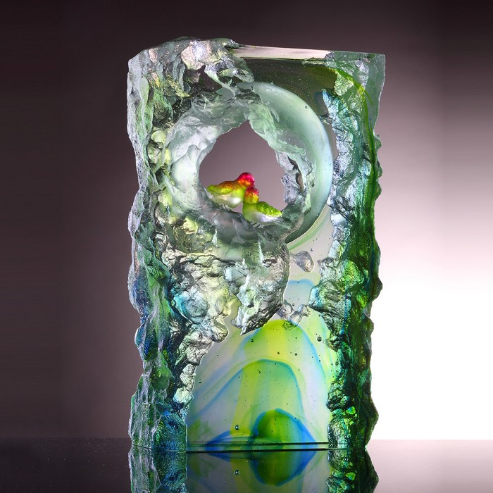 Liuli Crystal Handcraft Crystal Bird Figurine (Lovely Bird)