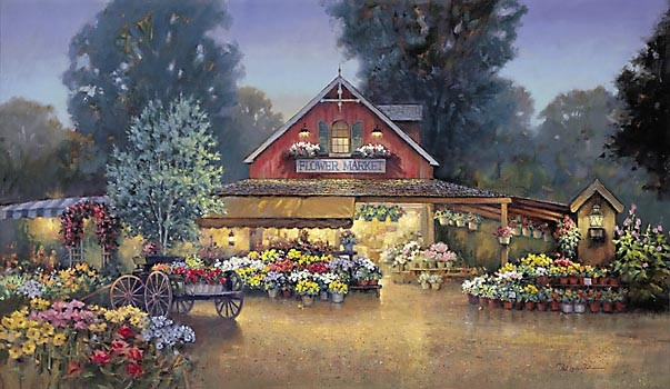 Paul Landry Evening At The Flower Market Canvas