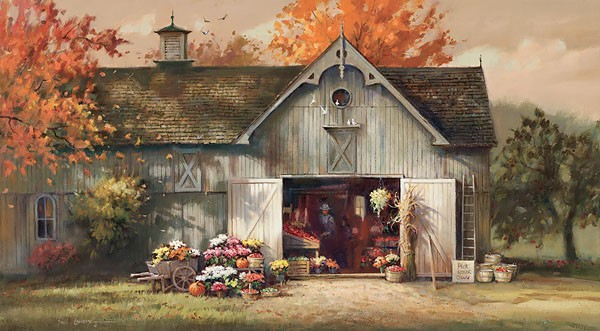 Paul Landry Autumn Barn Canvas