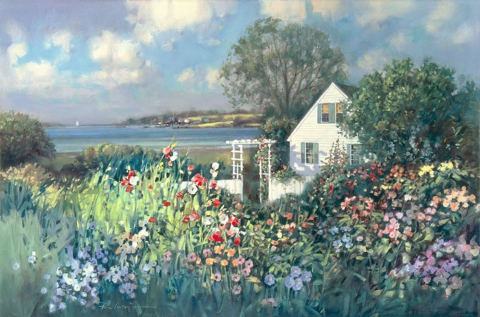 Paul Landry Cottage by the Sea Canvas