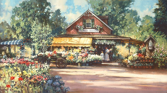 Paul Landry Flower Market Canvas