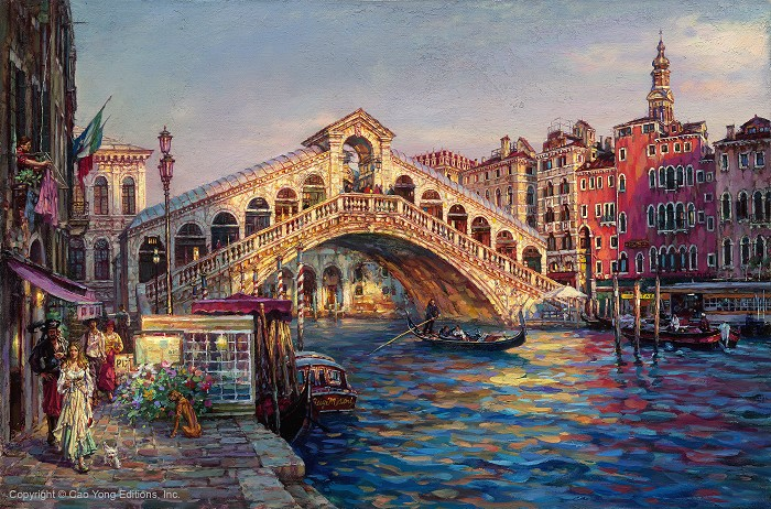 Cao Yong Ponte Di Rialto, Venice Giclee On Canvas The Venice Series