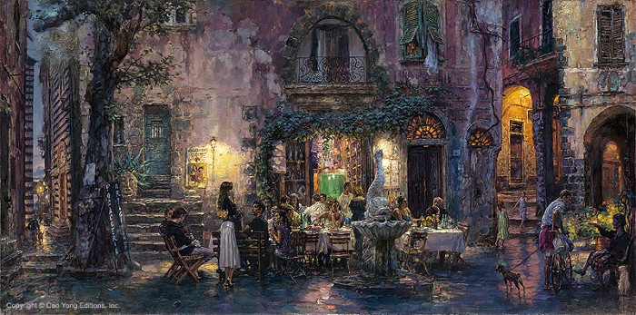 Cao Yong Pretty Life In Monterosso Artist Proof Giclee On Canvas Artist Proof The Venice Series