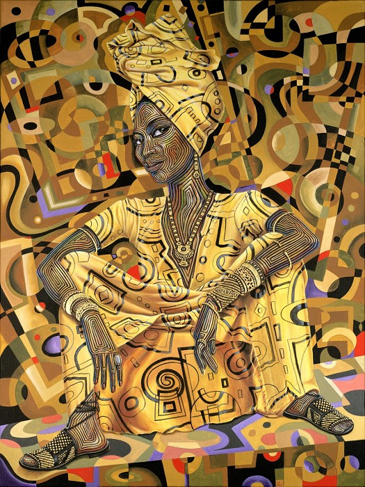 Rene Dickerson Golden Lady Giclee On Canvas