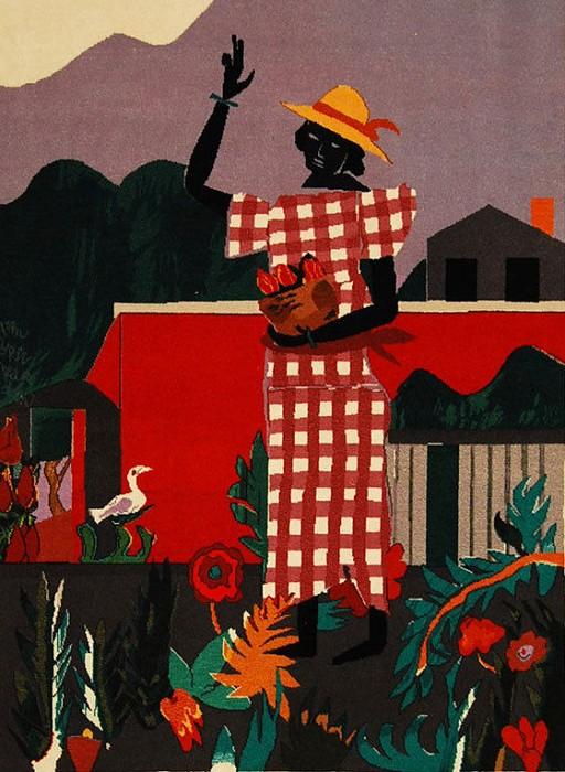 Romare BeardenGirl in the Garden Tapestry  Hand Woven Textile  1989