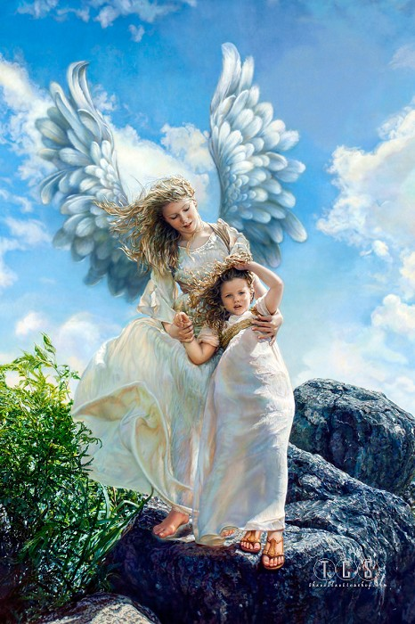 Sandra Kuck Guardian Angel Giclee On Canvas