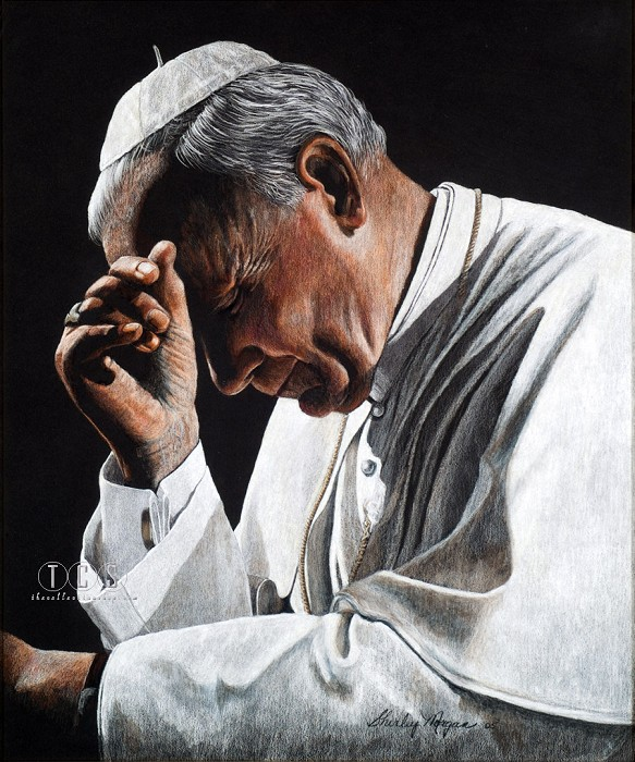 Shirley Morgan Pope John Paul II In Prayer Giclee On Canvas Artist Proof