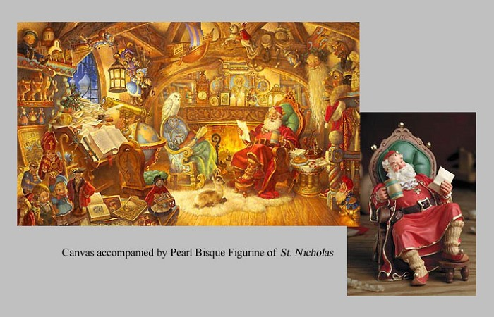 Scott GustafsonSt. Nicolas In His Study W/figurines Limited Edition Canvas