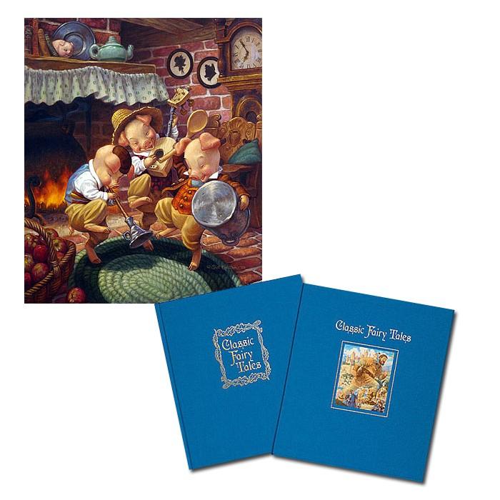 Scott GustafsonClassic Fairy Tales W/three Little Pigs Coll. Book & Print