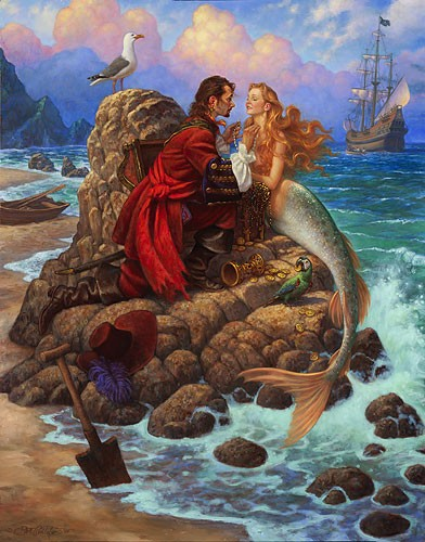 Scott Gustafson The Pirate And The Mermaid Limited Edition Canvas