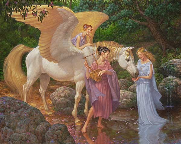 Scott Gustafson Pegasus And The Muses Limited Edition Canvas