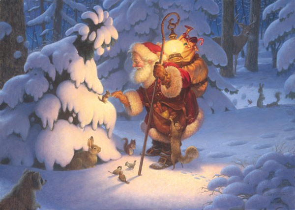 Scott Gustafson Woodland Santa, Limited Edition Canvas