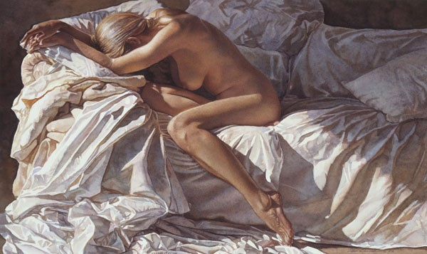Steve Hanks Blending Into Shadows and Sheets Canvas