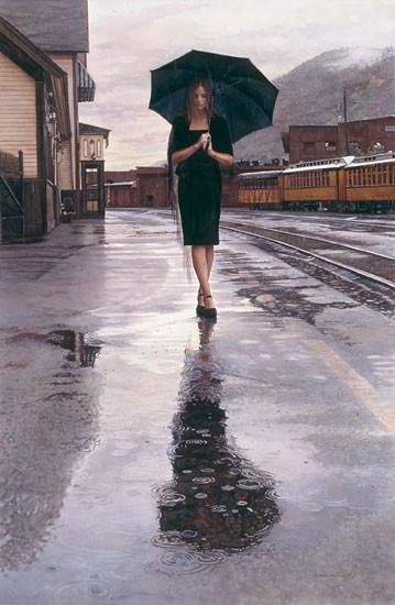 Steve Hanks Waiting in the Rain Canvas