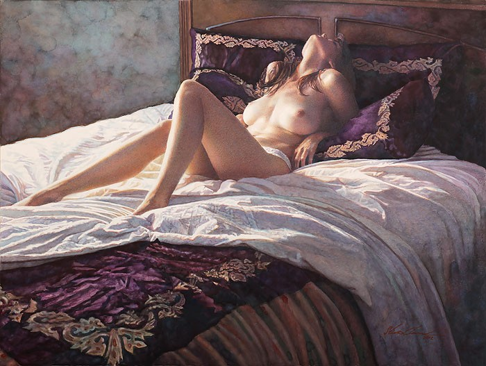 Steve Hanks In the Soft Comfort of Her Bed Canvas