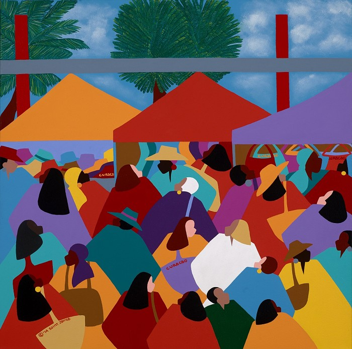 Synthia SAINT JAMES Curacao Market Giclee On Canvas
