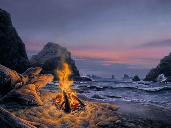 Stephen Lyman BEACH BONFIRE Lithograph