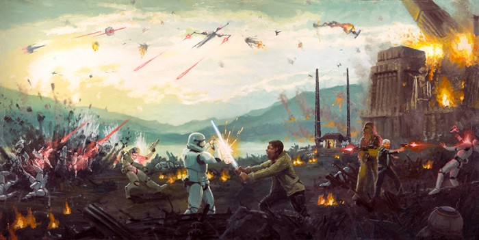 Christopher Clark Attack on Takodana Giclee On Canvas