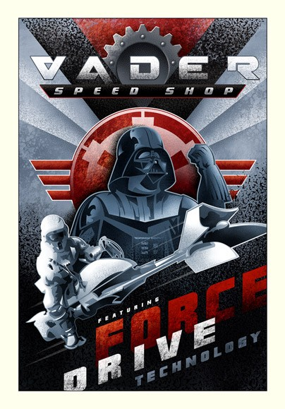 Mike Kungl Vader Speed Shop From Lucas Films Star Wars Giclee On Canvas