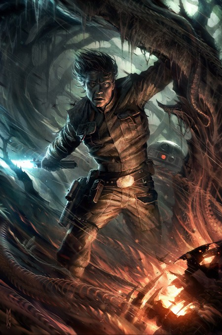 Raymond Swanland Through the Fire From Lucas Films Star Wars Printers Proof Giclee On Canvas