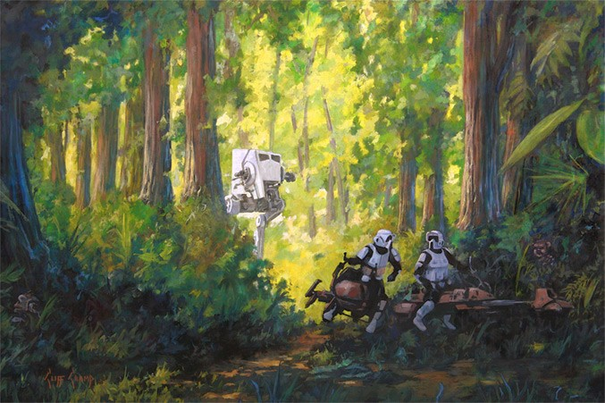 Cliff Cramp Imperial Scout Troopers Giclee On Canvas