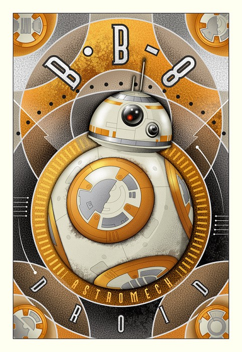 Mike Kungl BB-8 Astromech Droid - From Star Wars (Small) Giclee On Canvas