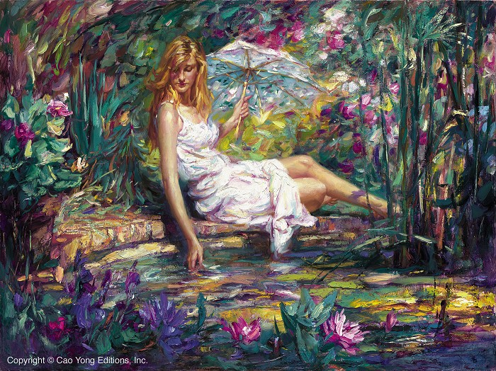 Cao Yong Spring Beauty Artist Proof Giclee On Canvas Artist Proof The Romantic Garden Series