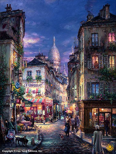 Cao Yong Stroll Montmartre Giclee On Canvas The Paris Series