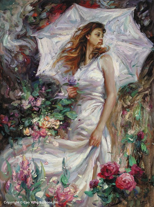 Cao Yong Summer Breeze Giclee On Canvas The Romantic Garden Series