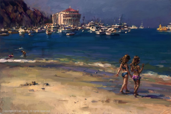 Cao Yong The Summer In Catalina Artist Proof Giclee On Canvas Artist Proof The Golden Coast Series