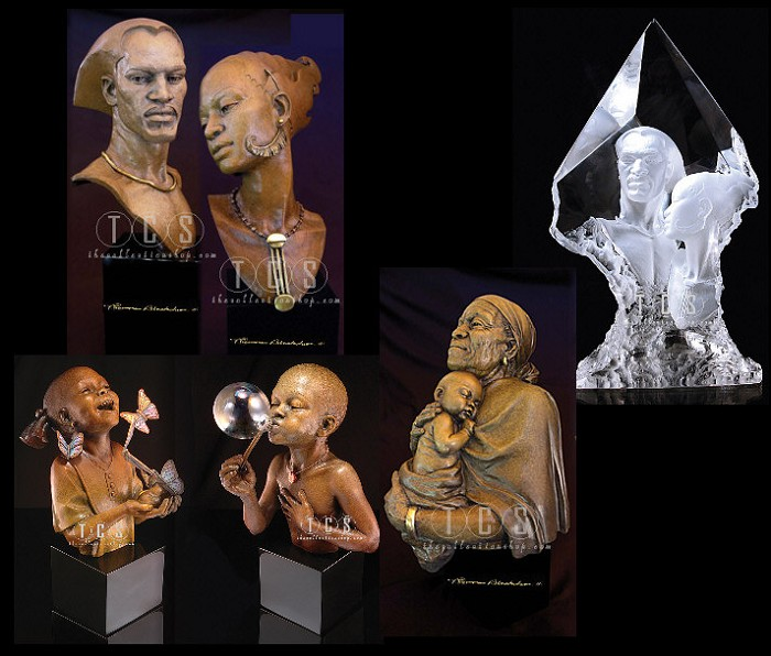 Thomas Blackshear Legends Romance, Embrace, Remembering , Remebering Romance, Summer Days And Hope Artist Proof Matched Numbered Set #4 6 Pcs Mixed Media Sculpture