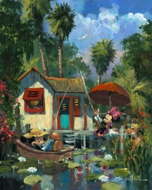 James ColemanFlorida FishinHand-Embellished Giclee on Canvas