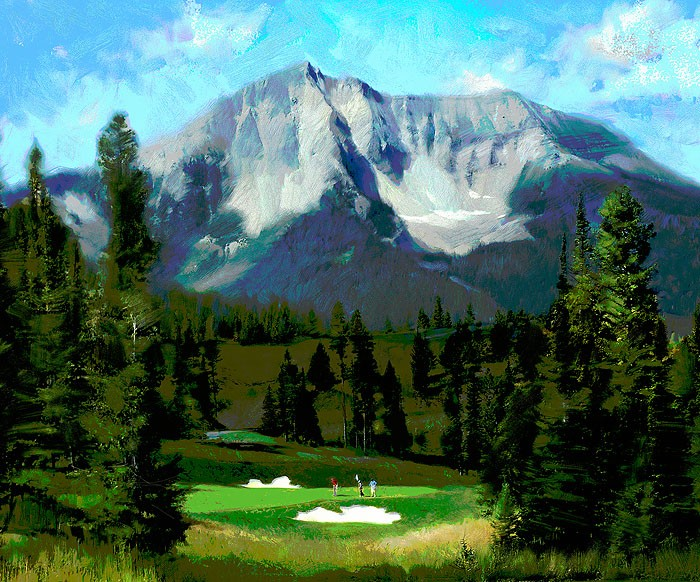R. Tom Gilleon 16th Hole Moonlight Basin Big Sky Canvas