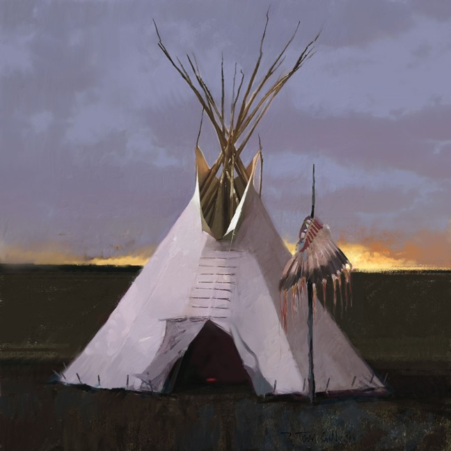 R. Tom Gilleon Headdress Lodge Canvas