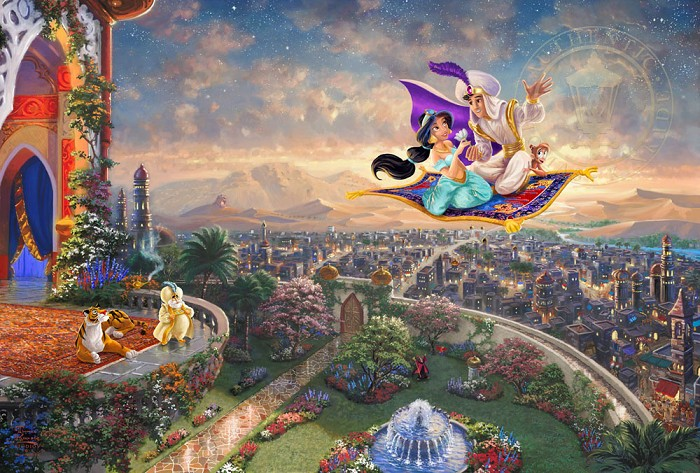 Thomas Kinkade Disney Aladdin Giclee On Paper