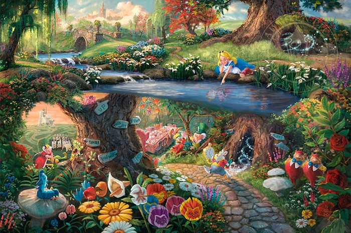 Thomas Kinkade DisneyAlice in WonderlandGiclee On Paper