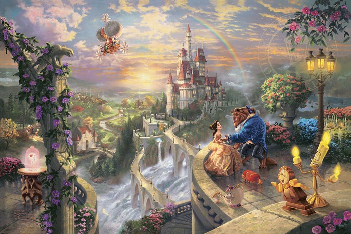 Thomas Kinkade Disney Beauty and the Beast Falling in Love Giclee On Paper