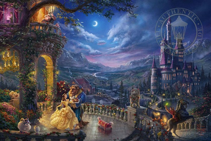 Thomas Kinkade Disney Beauty and the Beast Dancing in the Moonlight Giclee On Canvas