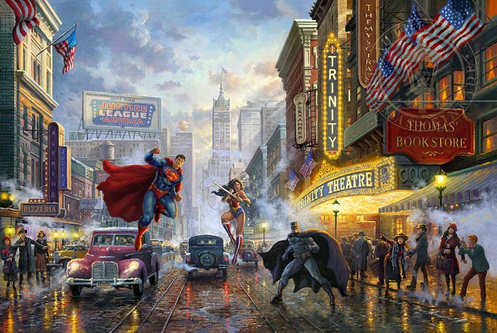 Thomas Kinkade DC Comics Batman, Superman, and Wonder Woman Giclee On Paper