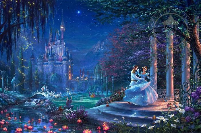 Thomas Kinkade DisneyCinderella Dancing in the StarlightGiclee On Canvas